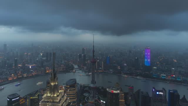 4K Shanghai Skyline At Dusk