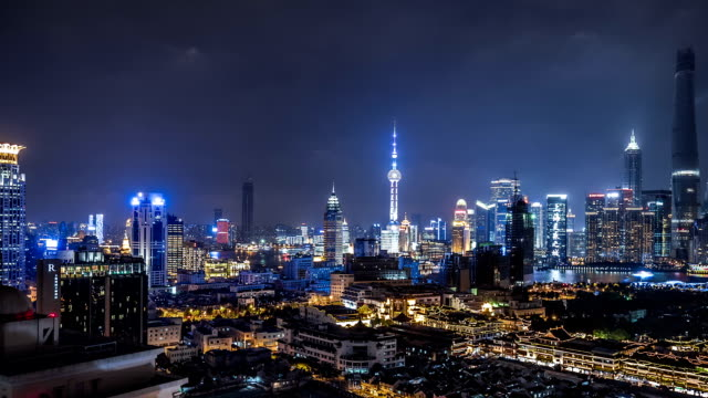 T/L WS HA PAN Shanghai Skyline at Night / Shanghai, China