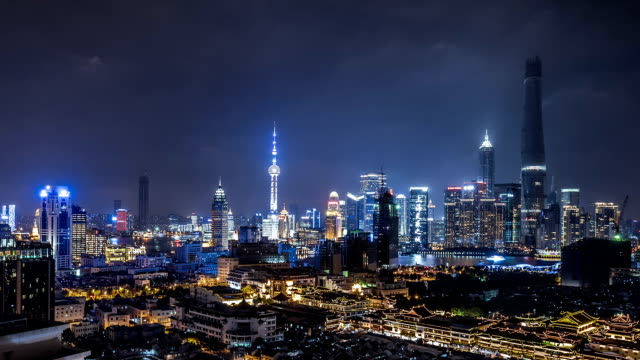 T/L WS HA ZO Shanghai Skyline at Night / Shanghai, China