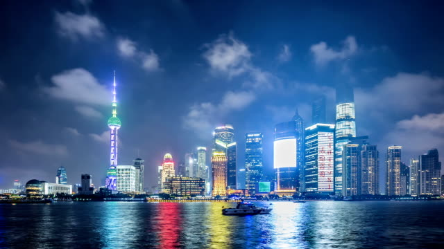 T/L WS PAN Shanghai Skyline at Night / Shanghai, China