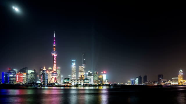 t/l ws shanghai skyline at night / shanghai, china - shanghai world financial center stock videos & royalty-free footage
