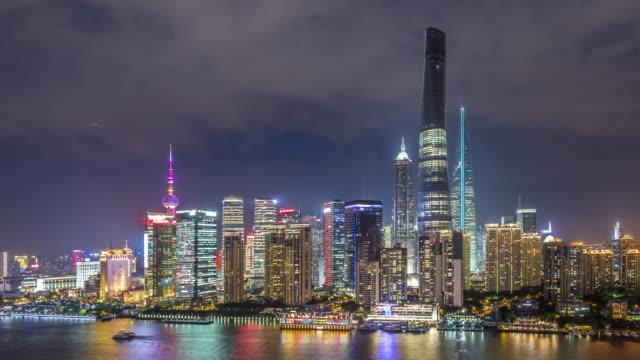 t/l ws ha zo shanghai skyline at night / shanghai, china - jin mao tower stock videos & royalty-free footage
