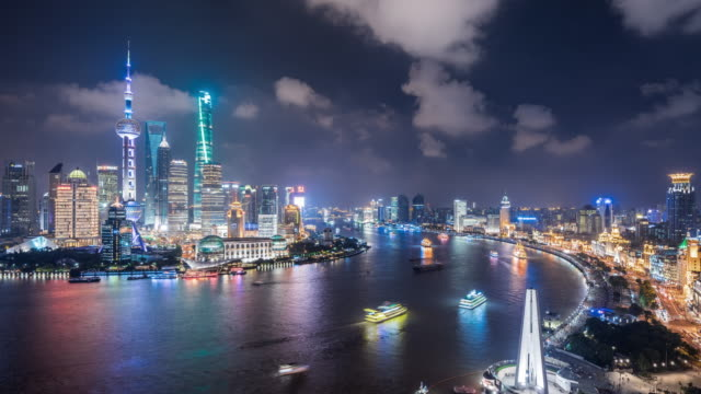 t/l ws ha zi shanghai skyline at night / shanghai, china - jin mao tower stock videos & royalty-free footage