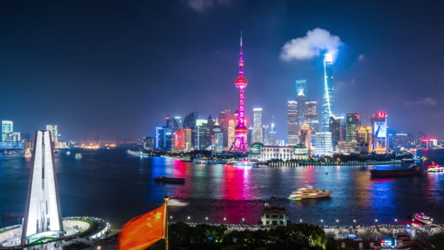 t/l ws ha pan shanghai skyline at night / shanghai, china - pearl stock videos and b-roll footage