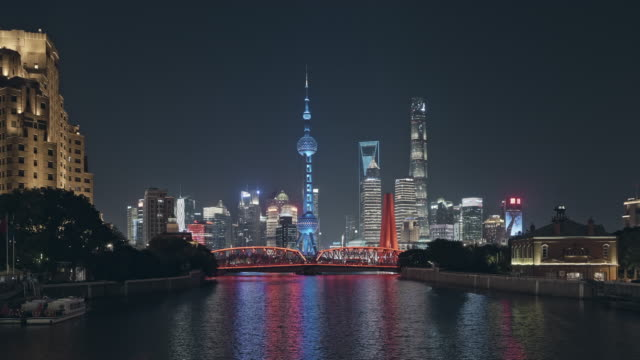 shanghai skyline at night time - the bund stock videos & royalty-free footage