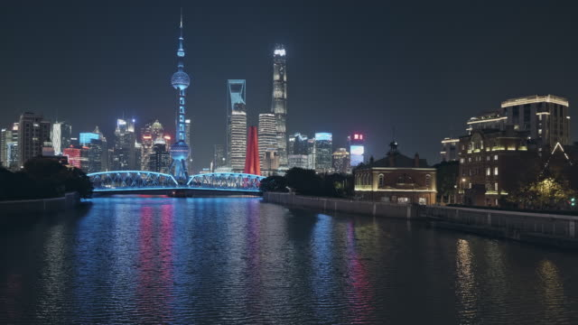 shanghai skyline at night time - dusk stock videos & royalty-free footage