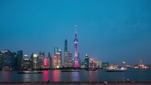 shanghai skyline at night - shanghai stock videos & royalty-free footage