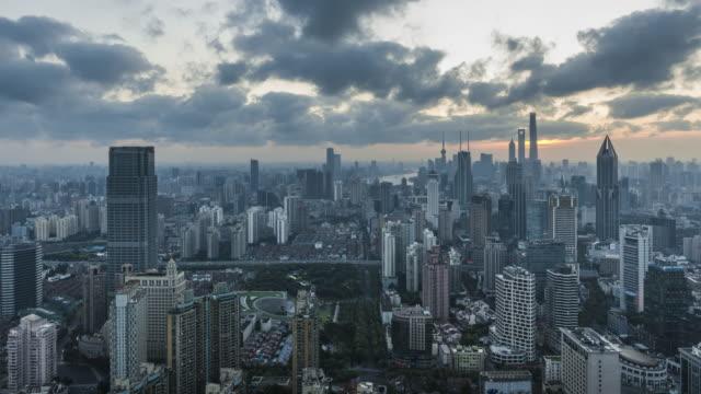 shanghai skyline at sunrise - east china stock videos & royalty-free footage