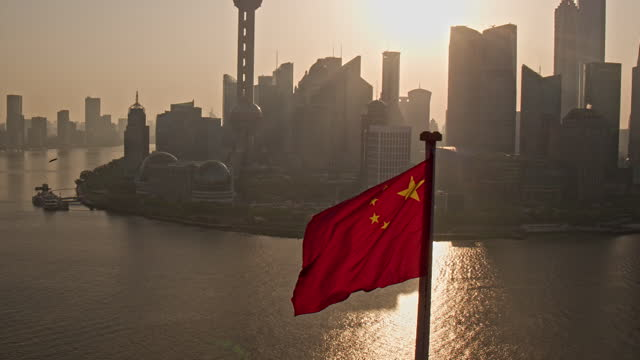 shanghai skyline at sunrise - government building stock videos & royalty-free footage