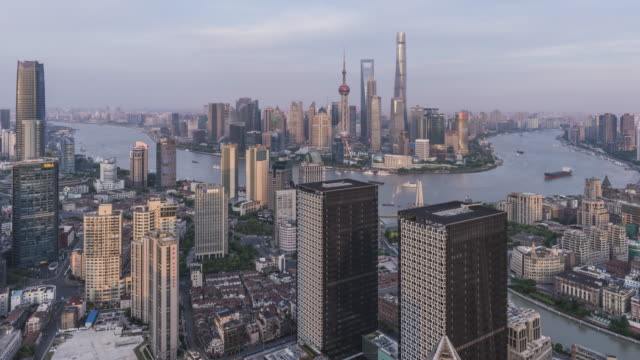 shanghai skyline at sunset - china east asia stock videos & royalty-free footage