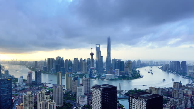 4k: shanghai skyline, china - dawn to day stock videos & royalty-free footage
