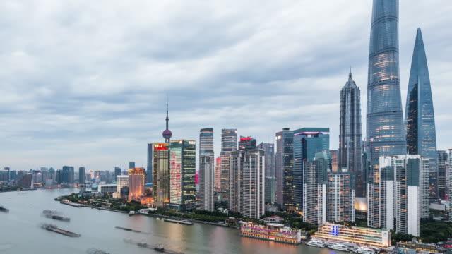 T/L WS HA ZO Shanghai Skyline Day to Night Transition / Shanghai, China