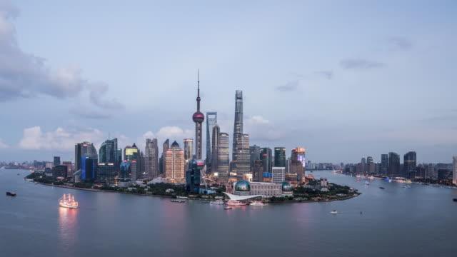 T/L WS HA Shanghai Skyline Day to Night Transition / Shanghai, China