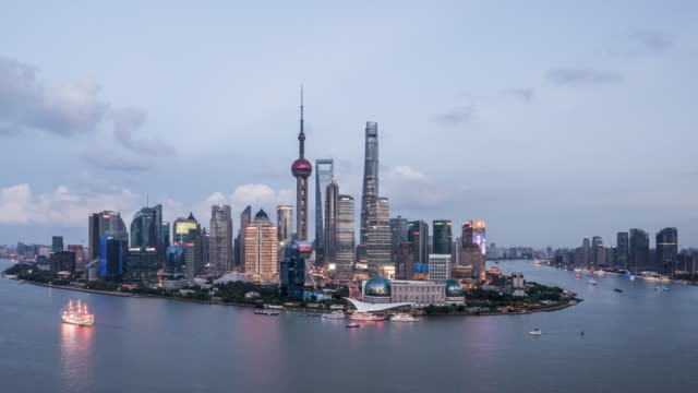 T/L WS HA ZI Shanghai Skyline Day to Night Transition / Shanghai, China