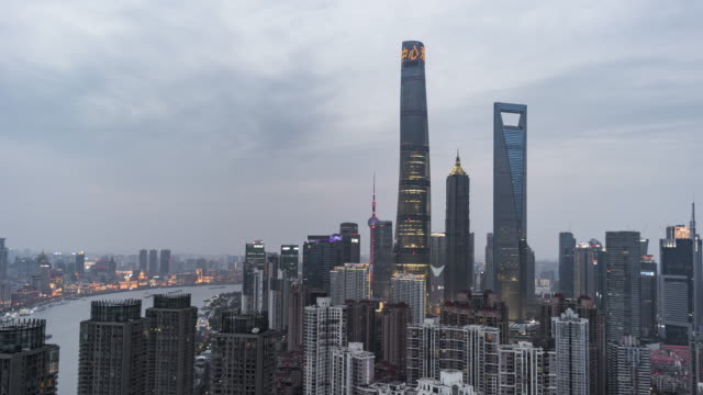 t/l ws ha zo shanghai skyline, day to night transition / shanghai, china - lujiazui stock videos & royalty-free footage