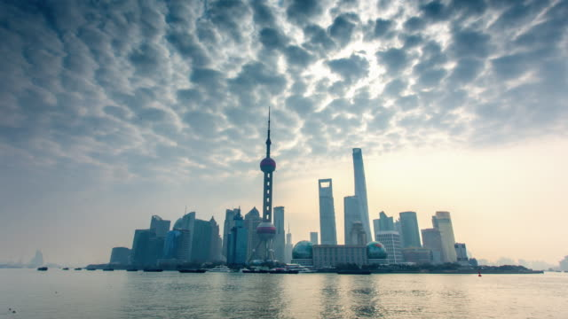 Shanghai Skyline foggy morning