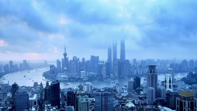 Shanghai Skyline from Dawn to Day, Time lapse