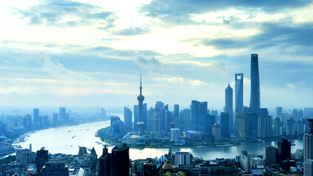 Shanghai Skyline from Dawn to Day, Time lapse, Zoom In