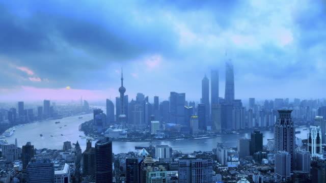 Shanghai Skyline von Morgendämmerung bis Tag, Zeitraffer, Hineinzoomen