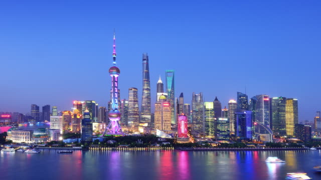 Shanghai Skyline from Sunset to Night