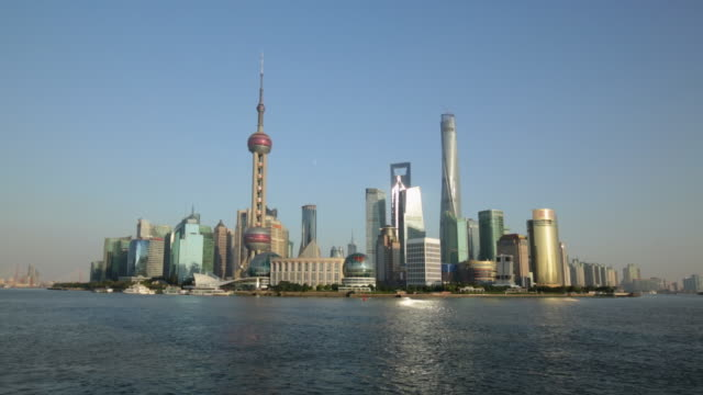 WS Shanghai skyline of the Pudong with blue skies.