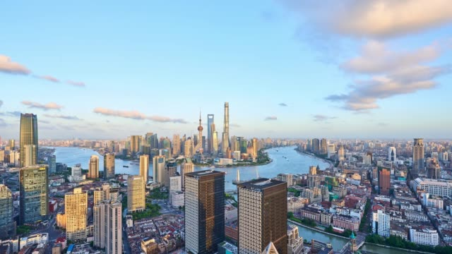 4K: Shanghai Skyline Panoramic at Day to Night Time Lapse, China