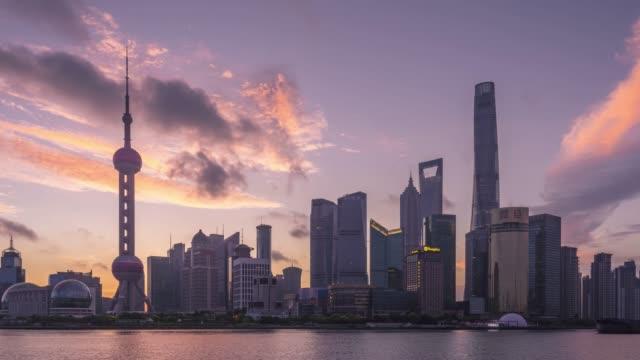 shanghai skyline sunrise - china east asia stock videos & royalty-free footage