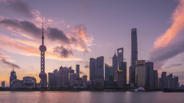 stockvideo's en b-roll-footage met shanghai skyline sunrise - 10 seconds or greater