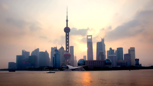 shanghai skyline sunrise - shanghai stock videos & royalty-free footage
