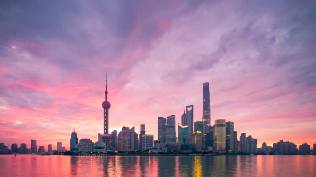 shanghai skyline sunrise - skyline stock videos & royalty-free footage