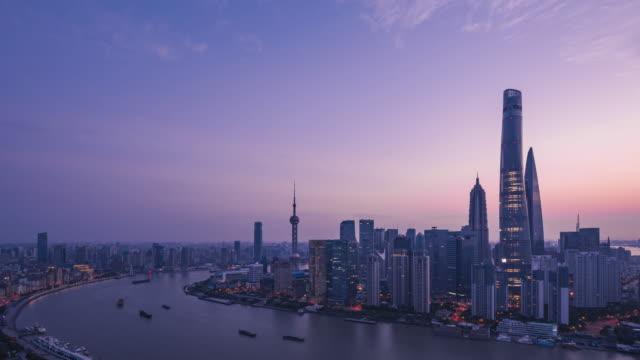 Lever de soleil sur la ville de Shanghai