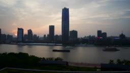 Shanghai Skyline Sunset Day to Night Timelapse