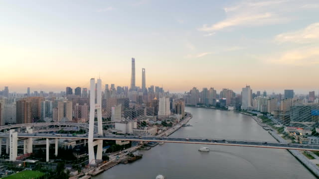 Shanghai Skyline Sunset Drone Point of View