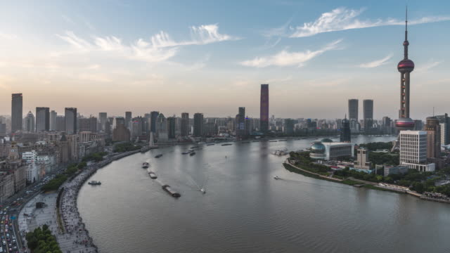 shanghai skyline time lapse - east china stock videos & royalty-free footage