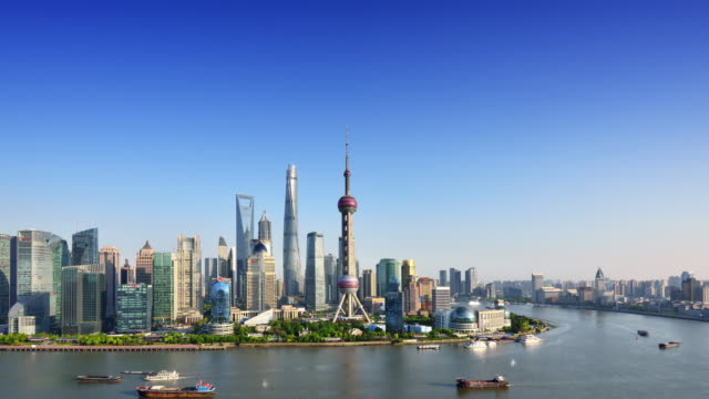Shanghai Skyline (Time-lapse, Zoom)