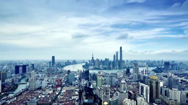 Shanghai Skyline (Time-lapse, Zoom In)