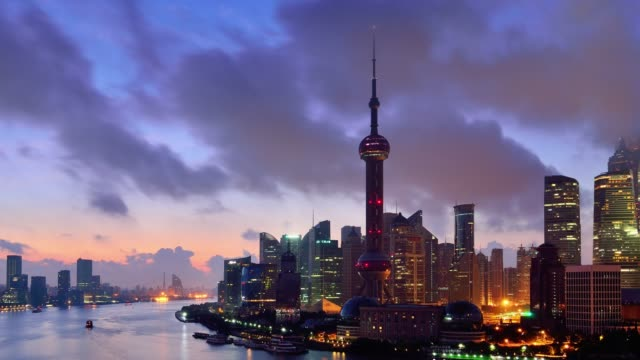 4K: Shanghai Skyline View at Dawn to Day Time Lapse, China