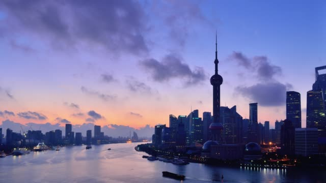 Shanghai Skyline View at Dawn to Day Time Lapse, China