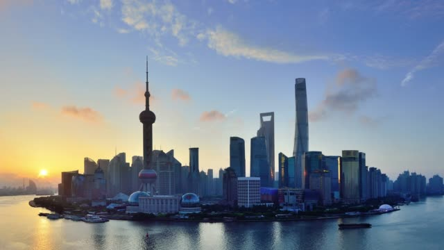 4k: shanghai skyline view at sunrise to day time lapse, china - bright stock videos & royalty-free footage