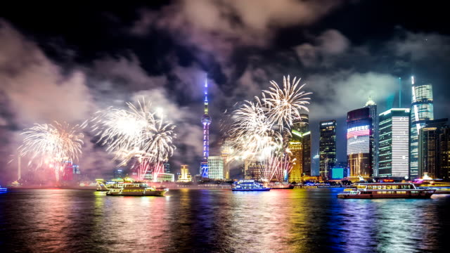 T/L WS Shanghai Skyline with Fireworks at Night / Shanghai, China