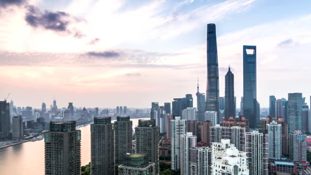 t/l zo td shanghai skyscraper day to night - lujiazui stock videos & royalty-free footage