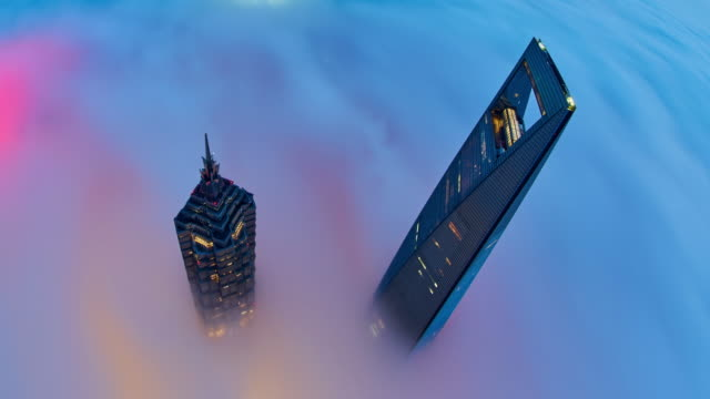 4K: Shanghai Skyscraper on Stratosphere Cloud, China.