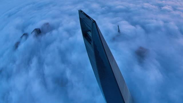 4K: Shanghai Skyscraper on Stratosphere Cloud, China