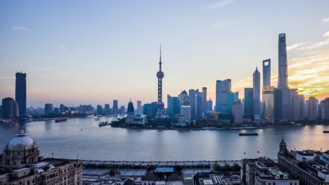 t/l ws ha shanghai sunrise / shanghai, china - jin mao tower stock videos & royalty-free footage