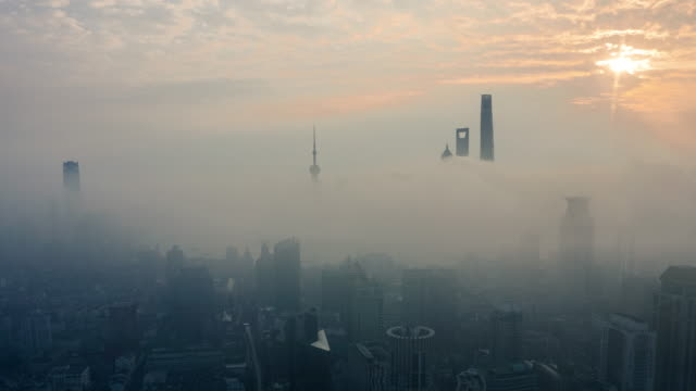 shanghai sunrise time lapse - smog stock videos & royalty-free footage