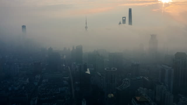 shanghai sunrise time lapse - smog stock videos & royalty-free footage