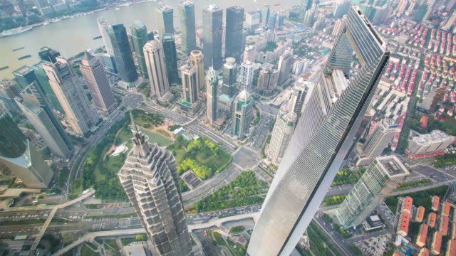 shanghai tallest bulidings pan timelapse - china east asia stock videos & royalty-free footage