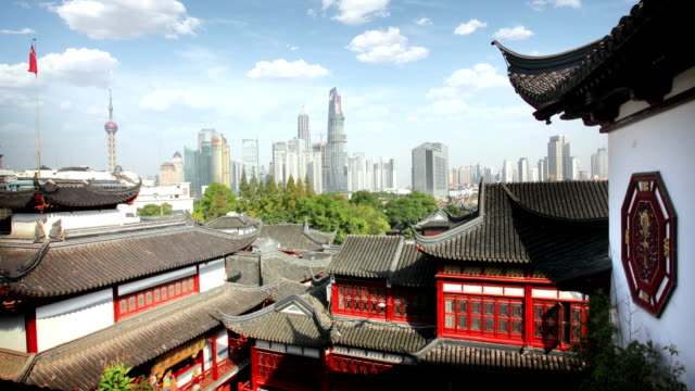 shanghai tranditional and new architecture - chinese flag stock videos and b-roll footage