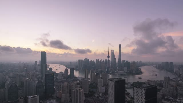 shanghai world financial district in china - fast motion stock videos & royalty-free footage