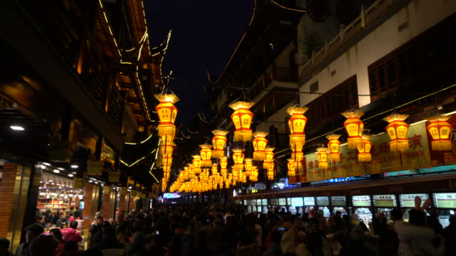 shanghai yu garden lantern festival is a historic folk activity to celebrate the spring festival - chinesisches laternenfest stock-videos und b-roll-filmmaterial